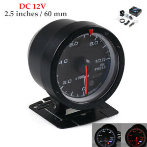 12V Car Modified 2.5''60MM 0-1000kpa Oil Pressure Meter Gauge  Set W/Holder