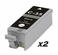 2 x Compatible Canon PGI-35 Cartouches d'encre Noir pour Pixma iP100, IP110, Min