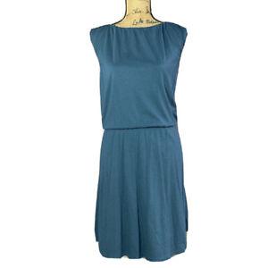 Garnet Hill Dress XS Teal Blue Green Organic Cotton Shift T Lined Elastic Waist