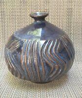 VTG  Studio ART POTTERY Weed Pot Bud Vase  SIGNED Primitive Blu/purple 6' 1/2 in