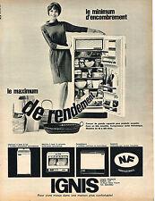 PUBLICITE  1967   IGNIS  lave linge lave vaisselle réfrigérateur