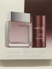 EUPHORIA By CALVIN KLEIN Men 2PC Gift Set 3.4 Spray + 2.6 Deodorant Travel Pack