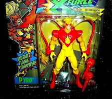 PYRO X-Men X-Force Action Figure w Marvel Trading Card of WHITE QUEEN Toy Biz 94