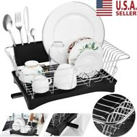 Stainless Dish Drying Rack Drainer Removable Cutlery Holder Utensil Organizer US