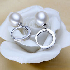 8-9mm Natural Pearl Jewelry Freshwater Pearl Earrings Silver Plated