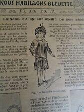 """PATRON ORIGINAL POUR LA POUPEE BLEUETTE """" ROBE EN LAINAGE OU CACHEMIRE 1912"""