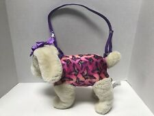 Confetti Pink & Purple Puppy Dog With Butterflies Plush With Strap/Leash 11""