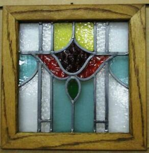 """OLD ENGLISH LEADED STAINED GLASS WINDOW Pretty Floral Oak Frame 12.5"""" x 12.5"""""""