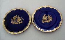Vtg Limoges France Miniature Pair Of Plates Fragonard Cobalt Blue 2 ¾�