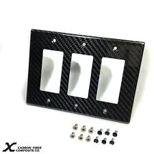 Carbon Fiber Triple Switch or Outlet Cover for Home, Office or Garage Xcf-6.11.2