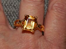 CITRINE LARGE SOLITAIRE RING-SIZE J-4.250CTS-WITH 14K GOLD