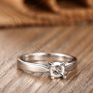 Solid 10k White Gold Prong Setting Semi Mount Round 6mm Engagement Ring Setting