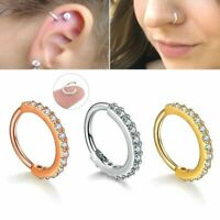 Gold Silver CZ Hoop Nose Ring Daith Snug Piercing Tragus Helix Cartilage Earring