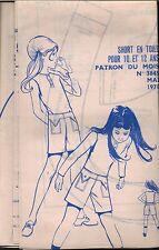 ▬► PATRON Couture Modes et Travaux - Short 10 à 12 ans Mai 1971