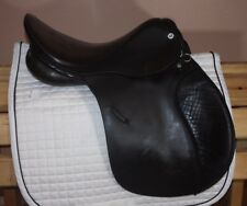 """16.5"""" M to MN Cliff Barnsby English saddle all purpose jumping, chocolate brown"""