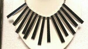 Sign Lam, Black Leather Inlay  Metal Fringe Fan Necklace, Box Chain Necklace