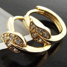 FS941 GENUINE 18K YELLOW G/F GOLD SOLID DIAMOND SIMULATED HUGGIE HOOP EARRINGS