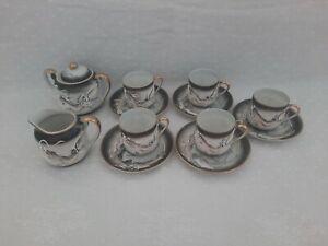 3D Hand Painted Japanese Chinese Eggshell Coffee Tea Set Dragon Design