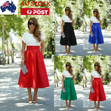 AU Women Ladies High Wasit Skirts Pleated A Line Vintage DressFrill Skirt Dress