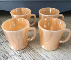 Vintage Anchor Hocking Fire King Peach Lustre Coffee Tea Cup Set of 4 Made USA