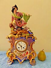ANTIQUE JACOB PETIT STYLE PARIS PORCELAIN JAPY FRERES FIGURAL MANTLE SHELF CLOCK