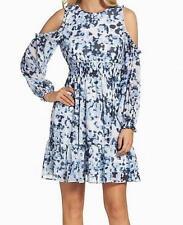 ELIZA J BLUE $159 Womens BLUE Tones Print COLD SHOULDER DRESS SZ 10 P Petite NWT