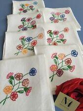 7 Serviettes de table Damas Lin brodé main Décor floral Art de la table 1809/128