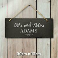 Large Personalised Mr and Mrs Hanging Slate Sign Engraved Name Date Wedding Gift