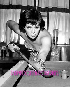 NATALIE WOOD 8X10 Lab Photo B&W 1960s Sexy Pool Cue & Ball, Movie Star Portrait