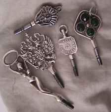 """5 Solid SILVER Keys Incl. A""""Woman"""" &""""Russian Eagle"""" For Antique Watches PERFECT"""