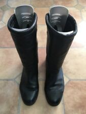 Women's Ecco Runners Leather Calf Length Black Boots, Size Eurpean 40/ UK 6.5-7