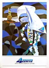 AZZURRA AMERICAS CUP 1983 ARTWORK NESPOLO SAILING RACE ORIGINAL VINTAGE POSTER