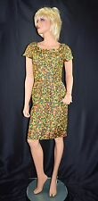Vintage 50's 60's Mod Rockabilly Stop Staring Dot Print Silk Wiggle Dress  Small