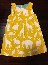 Mini Boden Girls Dress 1 1/2 - 2 yrs. Zoo animals printed Pinafore Cord jumper
