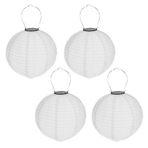 4er Set Solar Lampion ø 30cm Kugel LED Lampenschirm Garten Laterne Grau Deko
