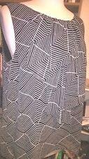 CMH Shear Black White Sleeveless Geometric Career Ruffle Blouse Sz L Large BB121