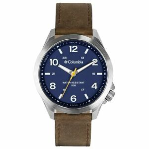 Columbia Self Select Quartz Blue Dial Brown Leather Strap Watch CSS10-002