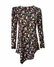 Womens Ladies Plus Size Tops Long Sleeve Round Neck Tunic Diamond Style Floral 9 22