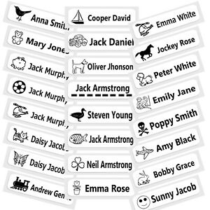 30 Printed Iron-On Name Tag tapes Custom Labels School Clothes Personalised Kid