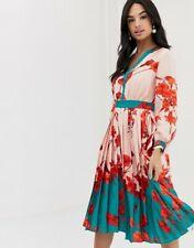 Ted Baker KAROLYN Fantasia V neck midi dress RRP £239 Size 1 UK 8 Pleated