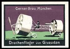 "Germany Poster Stamp - Adv. Gerner-Bräu Beer - Aviatik - French ""Drachenflieger"""