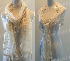 Beige Flower Embroidery Lace Lovely  Soft Long Scarf