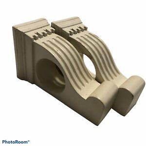 "Wood Greek Column Style Ivory Curtain Rod Supports Brackets 5.5""x3.25"""