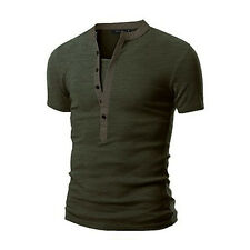 Men's Slim Fit V Neck Short Sleeve Muscle Tee T-shirt Casual Tops Henley Shirts
