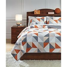 Ashley Furniture Q408003F Layne Full Coverlet Set Gray/Orange NEW