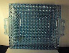 Flattened fine cut pattern glass bread tray 8.5 x 11.5 blue canton