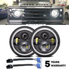 "7""inch LED Headlight Halo Angel Eye DRL Light For Land Rover Defender 90 110 130"