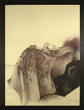 BRUNO BRUNI 1935 Gradara / Farblithographie / Auflage 67/100 / Weibliche Figur
