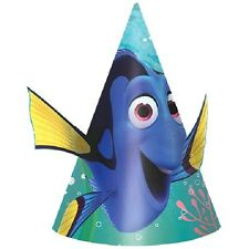 FINDING DORY CONE HATS (8) ~ Birthday Party Supplies Favors Paper Disney Pixar