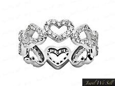 Ring 14k White Gold F Vs2 0.95Ct Round Diamond Alternating Heart Eternity Band